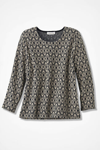Jacquard Knit Top, Black, large