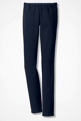 Knit Denim Slim-Leg Leggings, Dark Sapphire Wash, large