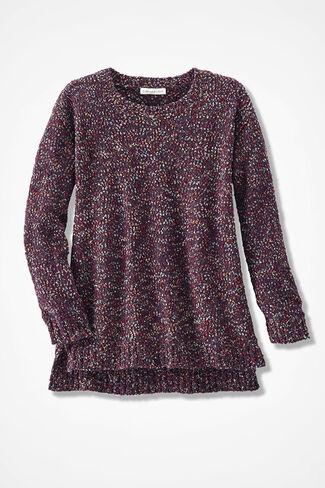 Confetti Bouclé Sweater, Dark Plum, large