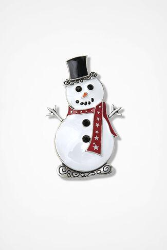 Winter's Pal Snowman Pin, White Multi, large
