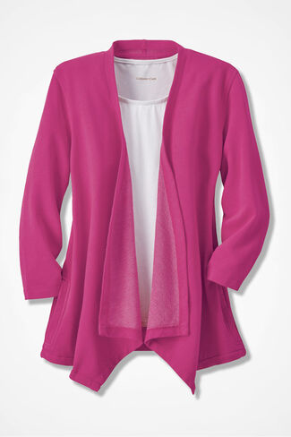 French Terry Flyaway Cardigan, Bright Pink, large
