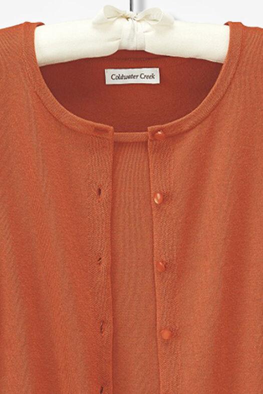 Three-Quarter Sleeve Classic Cardigan, Light Spice, large