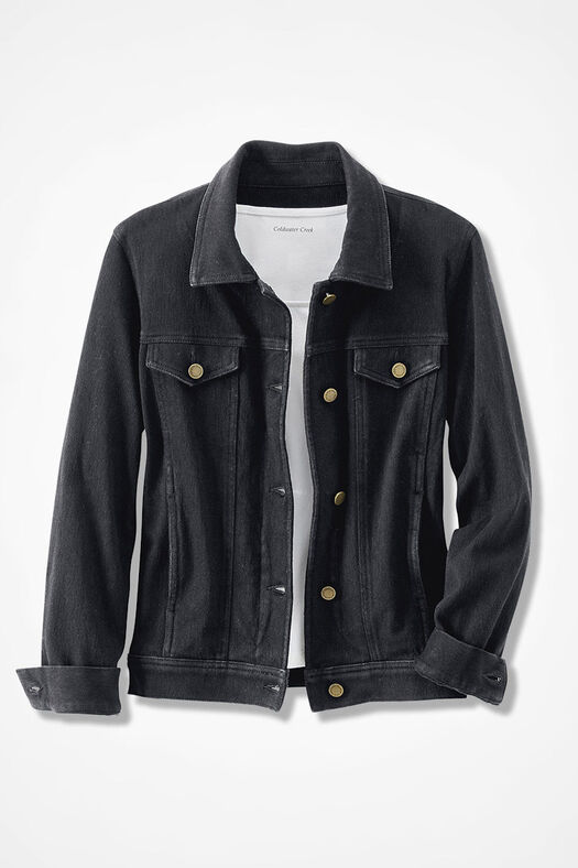 Knit Denim Jacket, Black, large
