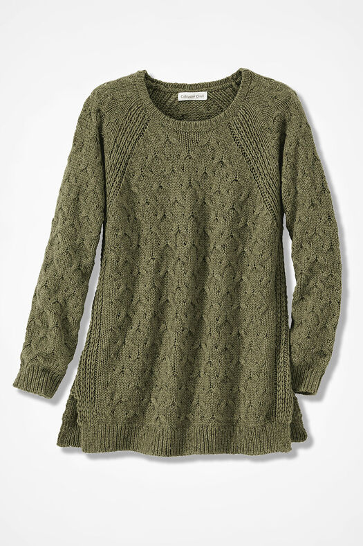 Gently Cabled Crewneck Sweater, Loden, large
