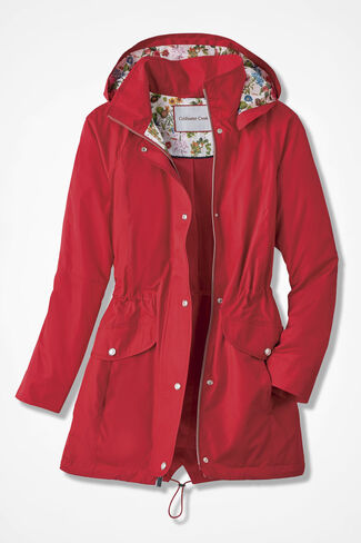 Hidden Blossoms Anorak, Red, large