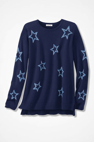Scattered Stars Sweater, Navy, large