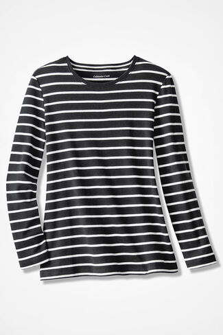 Striped Interlock Knit Tee, Black, large