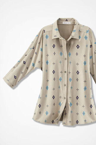 Spirit Symbols Faux Suede Dolman Shirt, Sand Multi, large
