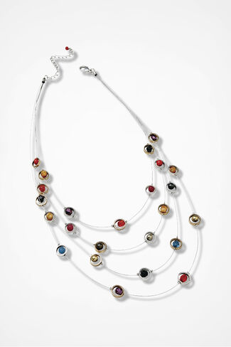 Pop of Color Illusion Necklace, Silver Multi, large