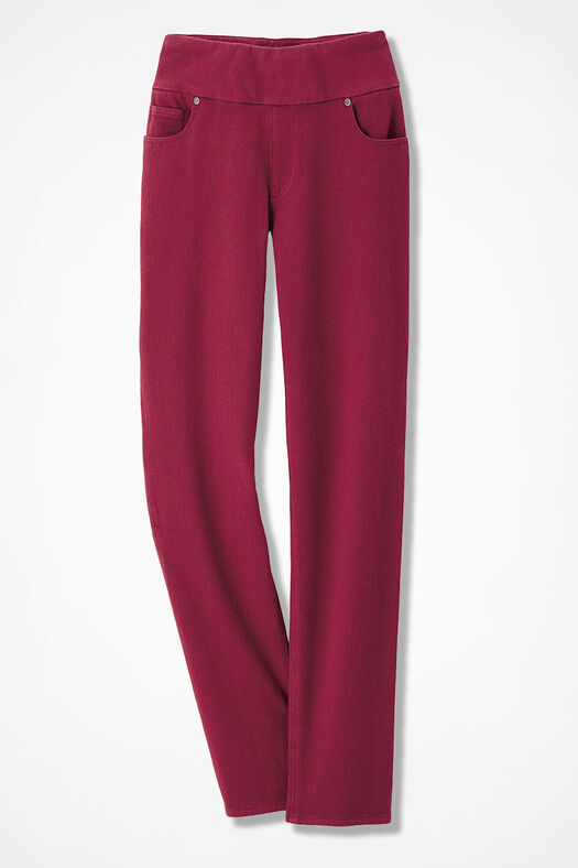 Knit Denim Pull-On Slim-Leg Jeans, Dover Red, large