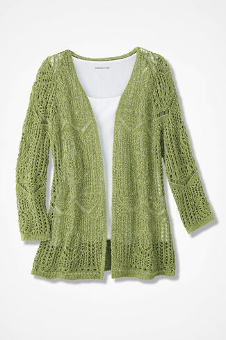 Open Crochet Cardigan, Willow Green, large