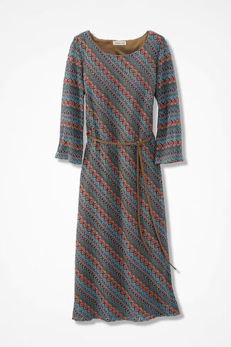 Modernist Textured Dress, Blue Multi, large