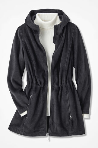 Great Outdoors Fleece Anorak, Black, large