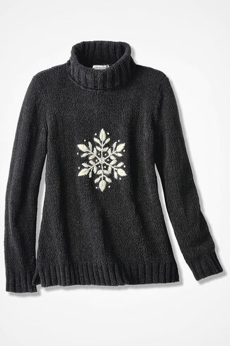 Snowflake Embroidered Chenille Sweater, Black, large