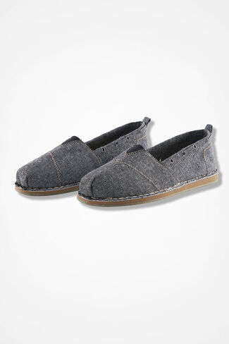 """Path"" Canvas Slip-Ons by Walk With Me™, Black, large"