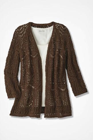 Open Crochet Cardigan, Brown, large