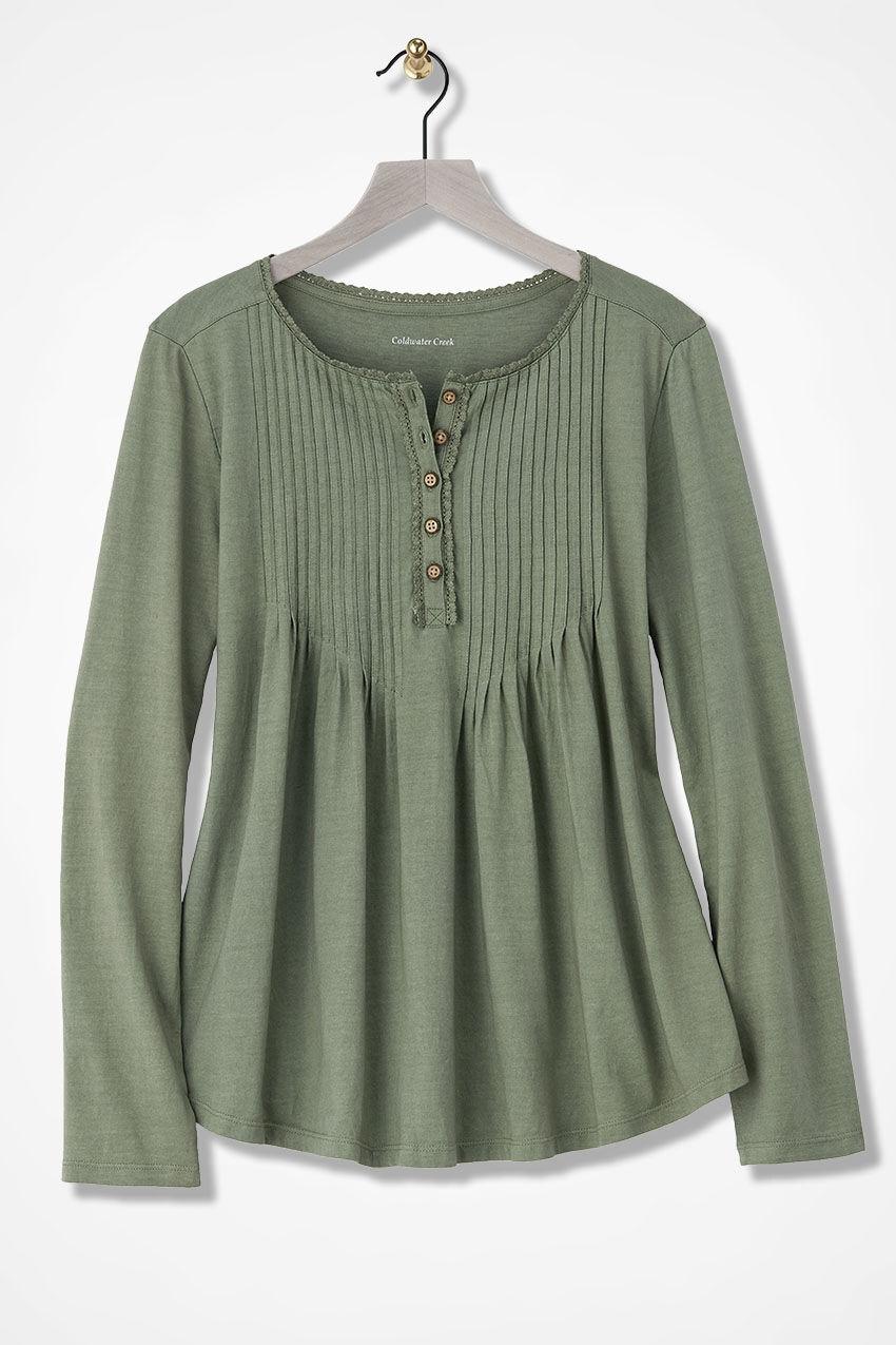 Pintucked Knit Henley, Light Vine, Large