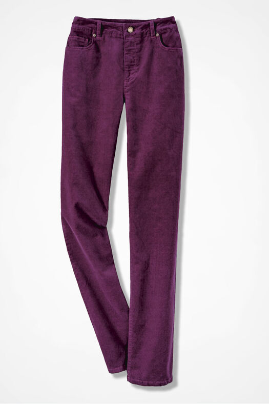 Pinwale Stretch Corduroys, Mulberry, large