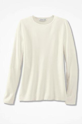 Long Sleeve Ribbed Sweater, Ivory, large