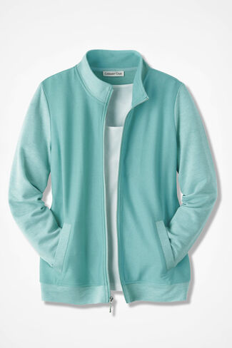 Two-Tone French Terry Zip-Front Jacket, Aquamarine, large