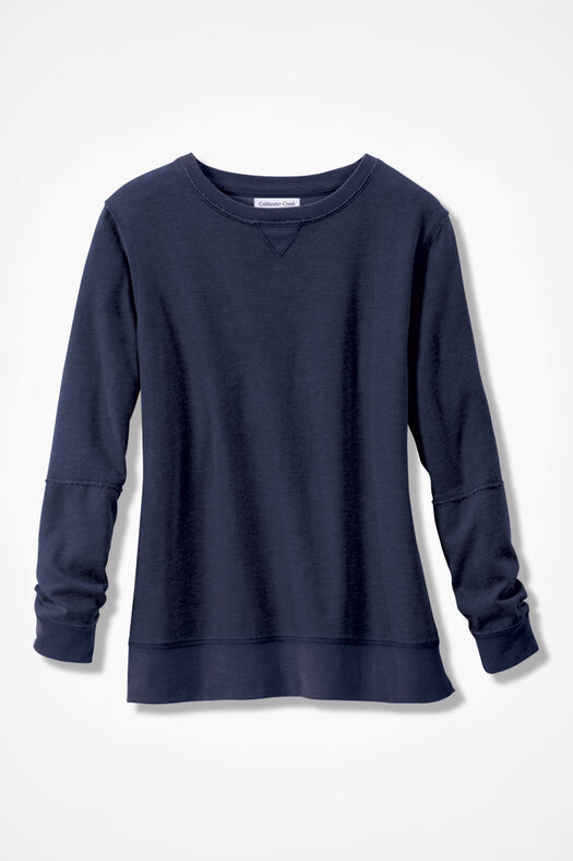 Colorwashed Fleece Pullover, Navy, large
