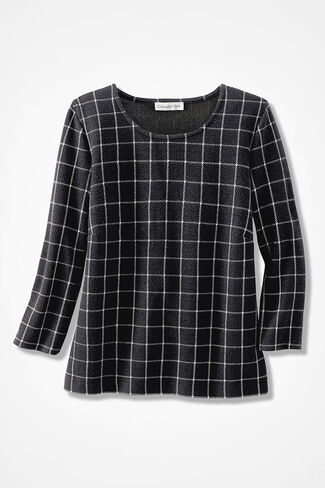 Windowpane Jacquard Knit Top, Black, large