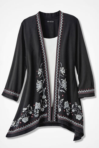 Rambling Roses Embroidered Cardigan, Black, large