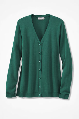 Day-to-Day Long Sleeve Cardigan, Emerald, large
