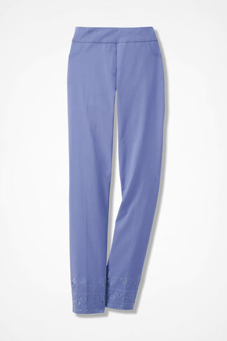 Day-to-Dinner Eyelet-Hem Ankle Pants, Perfect Peri, large