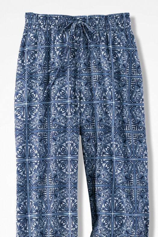 Indigo Tile-Print Pants, India Ink, large