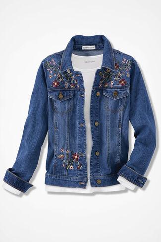 Desert Rose Embroidered Denim Jacket, Medium Wash, large