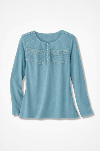 Lace Charmed Henley, Robins Egg, large