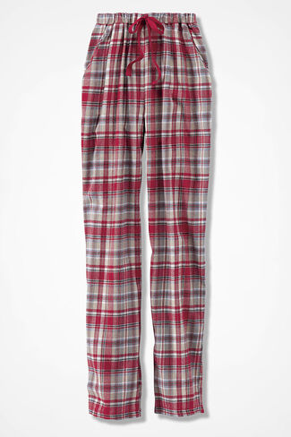 Plaid Flannel PJ Pants, Dover Red, large