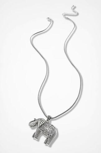 Unforgettable Elephant Necklace, Silver, large