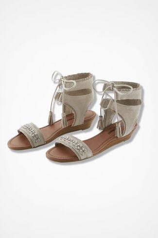 """Portofino"" Suede Sandals by Minnetonka®, Stone, large"