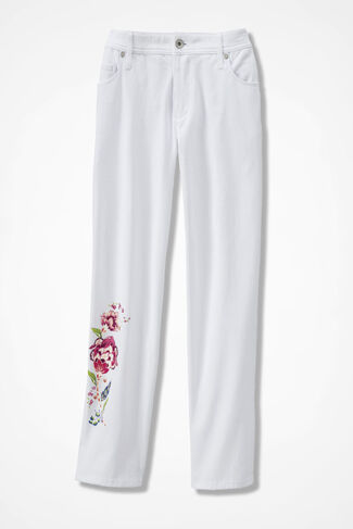 Denim Blooms Cropped Jeans, White, large