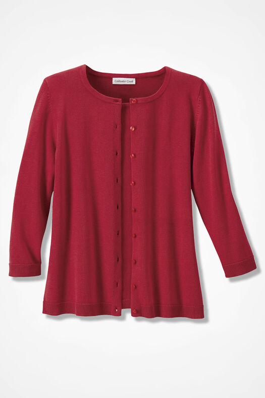 Three-Quarter Sleeve Classic Cardigan, Fresh Red, large