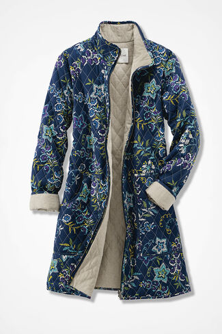 Reversible Quilted Coat, Navy Multi, large