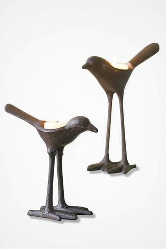 Sculptural Bird Votive Set, Brown, large