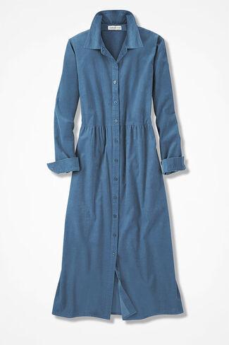 Pincord Shirtdress, Aspen Blue, large
