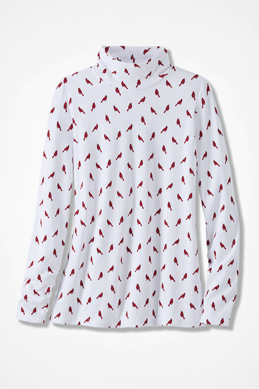 Cardinal Print Stand-Neck Cotton Tee, White, large