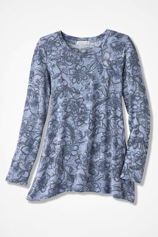 Blue Muse Swing Knit Tunic, Dusty Blue, large