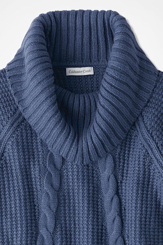 Soft-and-Mellow Cabled Cowlneck, Ranch Blue, large