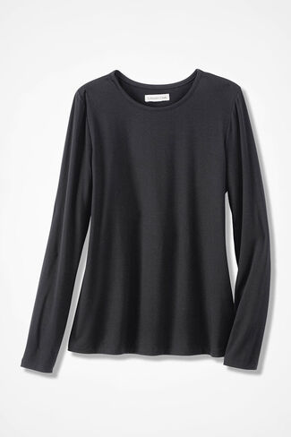 Night Delight Solid Knit PJ Top, Black, large
