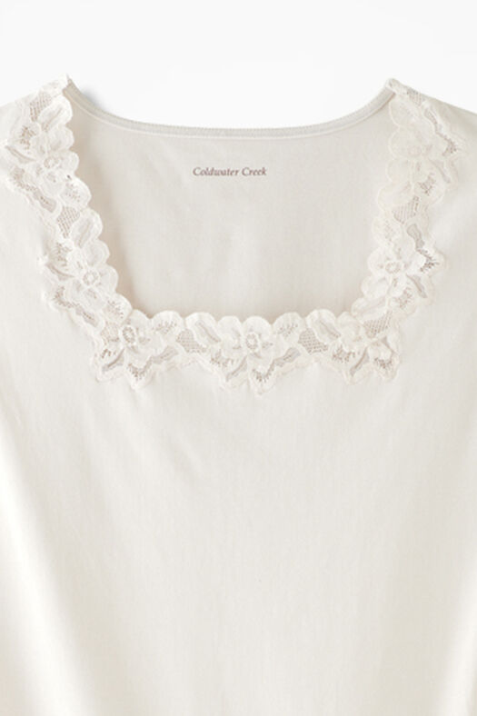 Lacy Square Neck Tank, Ivory, large