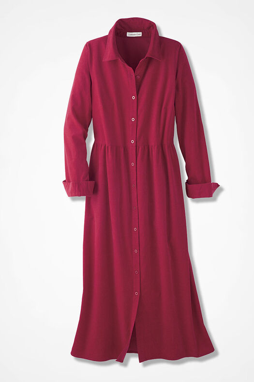 Pincord Shirtdress, Dover Red, large