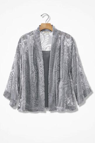 Burnout Velvet Kimono Jacket, Pewter, large