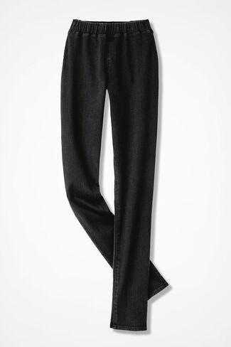 Knit Denim Slim-Leg Leggings, Black, large