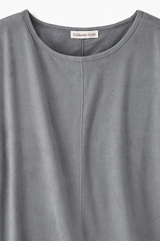 Suede-Touch Stretch Tee, Pewter, large