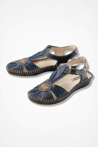 """Original Vallarta"" Leather Sandals by Pikolinos®, Navy, large"